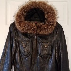 Jackets & Blazers - Genuine leather coat w/ fur lined hoodie insert S